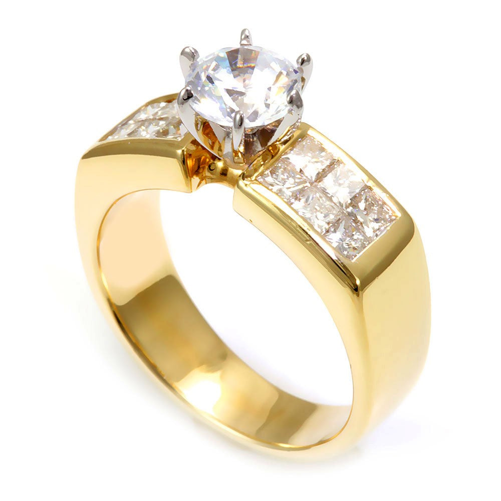 Invisible Set Princess Cut Diamonds in 18K Yellow Gold Engagement Ring