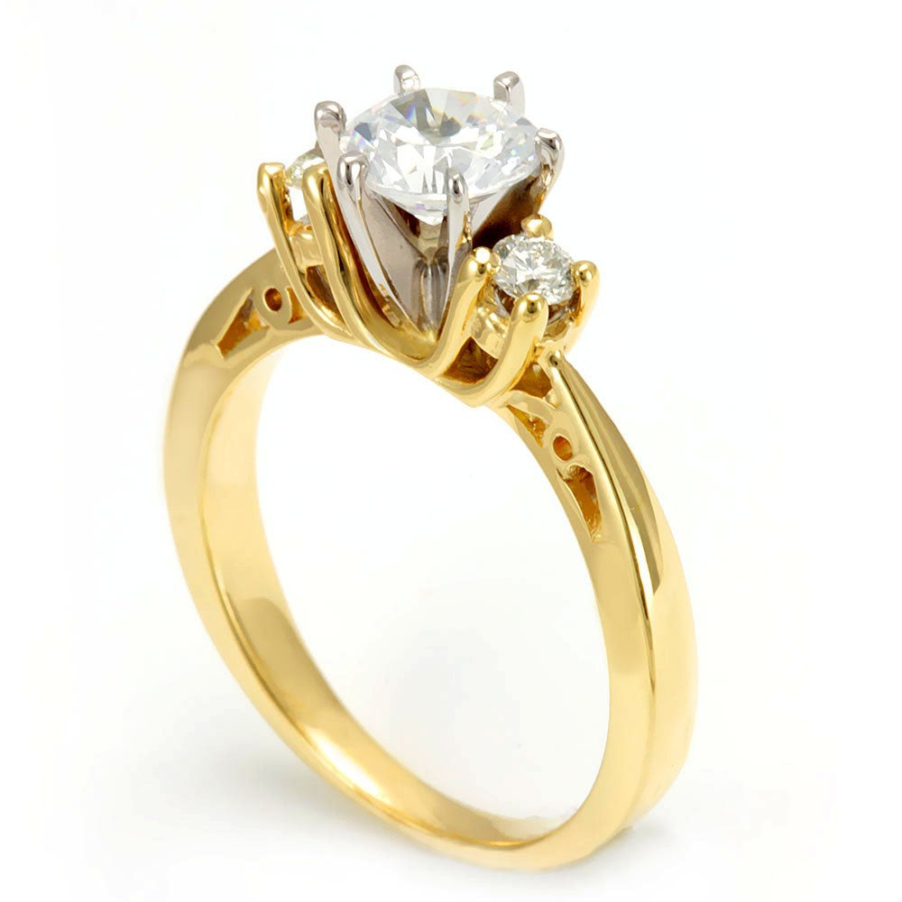 14K Yellow Gold Engagement Ring with Round Diamond Side Stones and CZ center stone