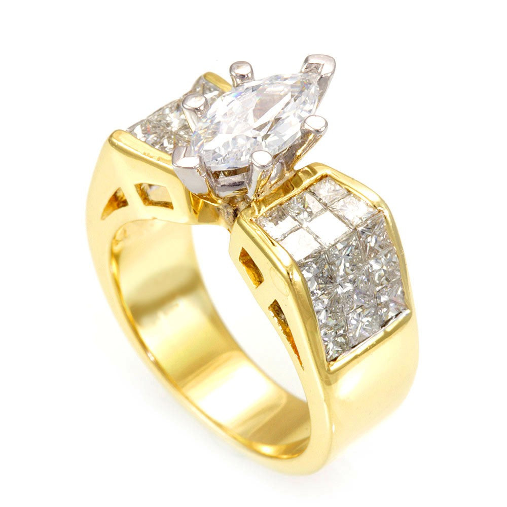 Invisible Princess Cut Diamond Engagement Ring in 18K Yellow Gold