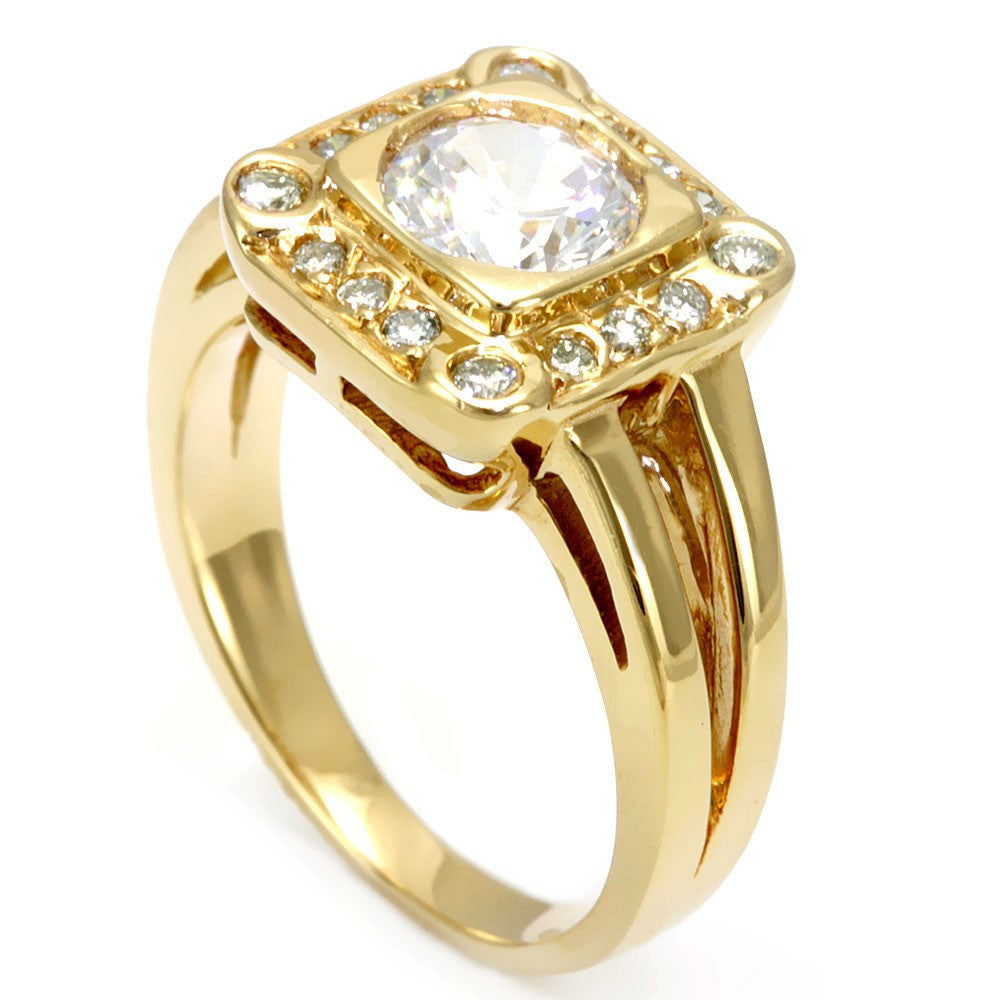 14K Yellow Gold Engagement Ring with Pave Set Round Diamonds