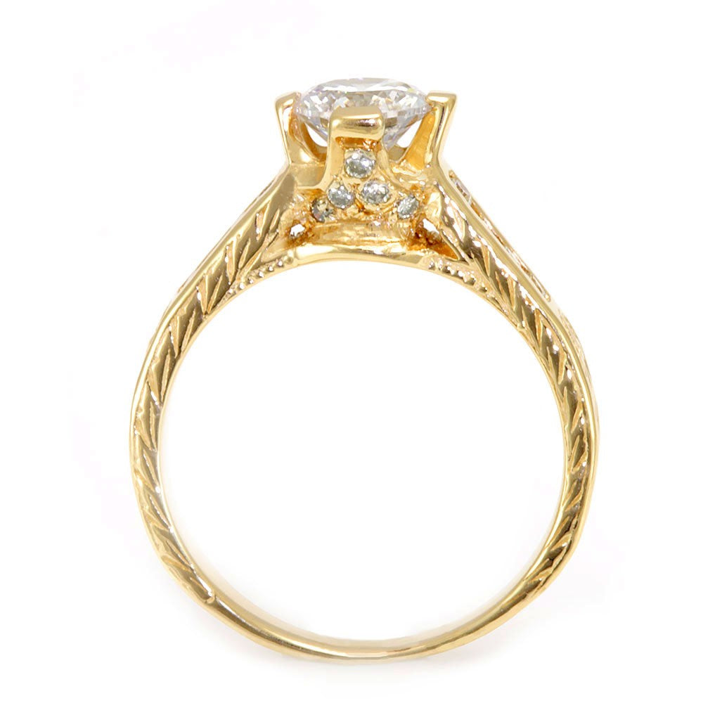 14K Yellow Gold Engagement Ring with Channel Set Round Diamonds