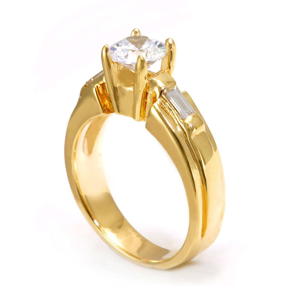 14K Yellow Gold Engagement Ring with Baguette Diamond Side stones