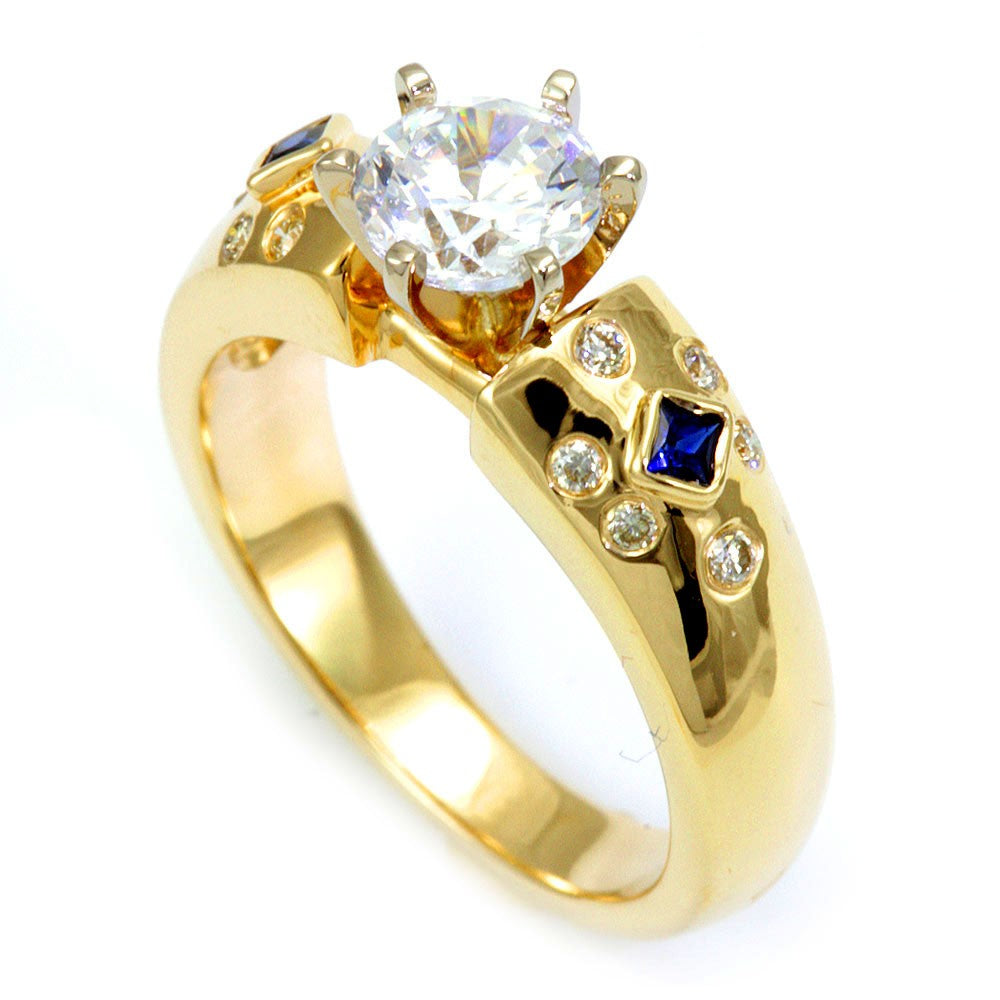 14K Yellow Gold Engagement Ring with Round Diamond and Blue Sapphire Side Stones