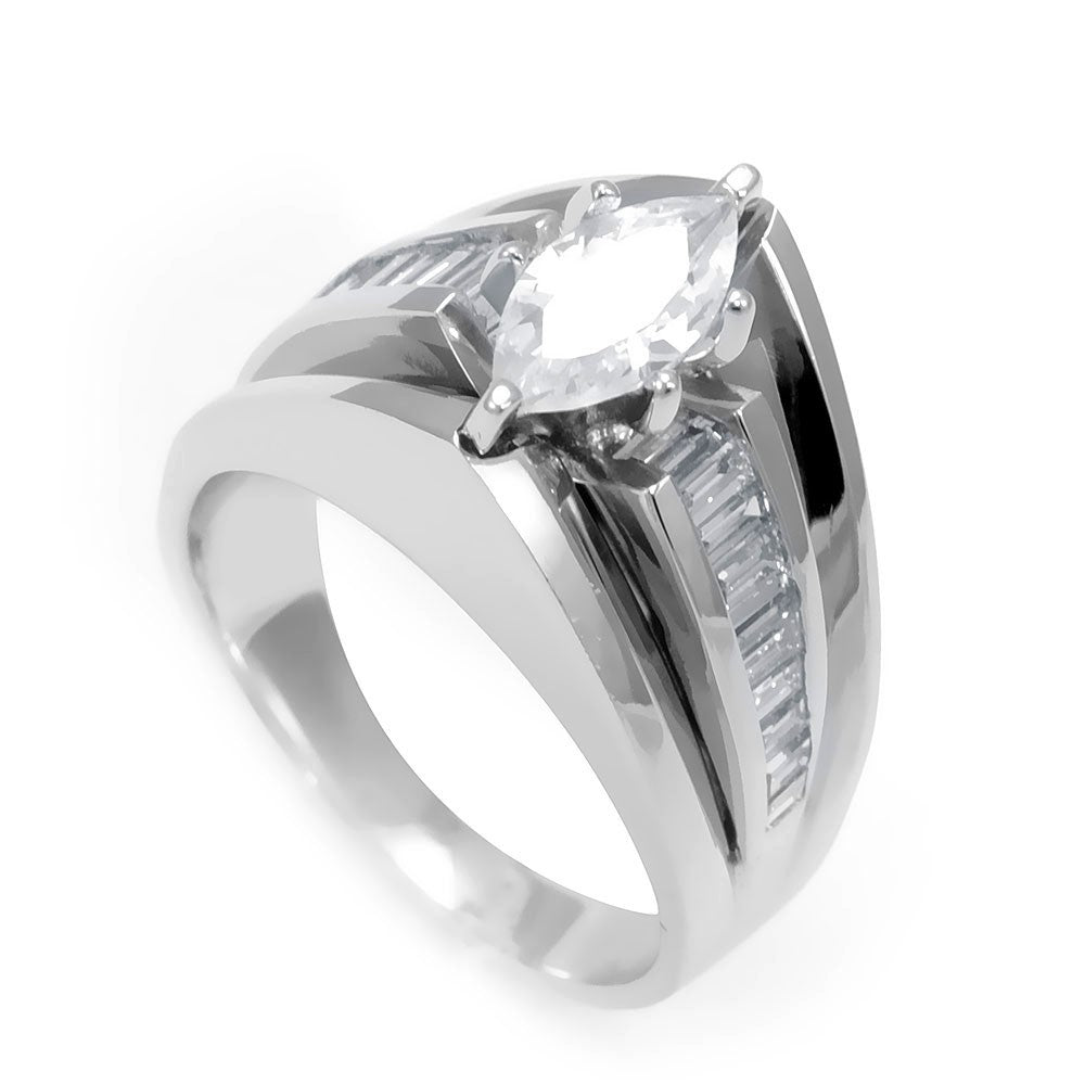 14K White Gold Engagement Ring with Marquise Shape Center and Baguette Diamond Side Stones