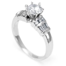 14K White Gold Engagement Ring with Baguette And Round Diamond Side Stones