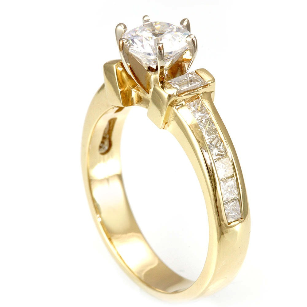 14K Yellow Gold Engagement Ring with Baguette And Princess Cut Diamond Side Stones