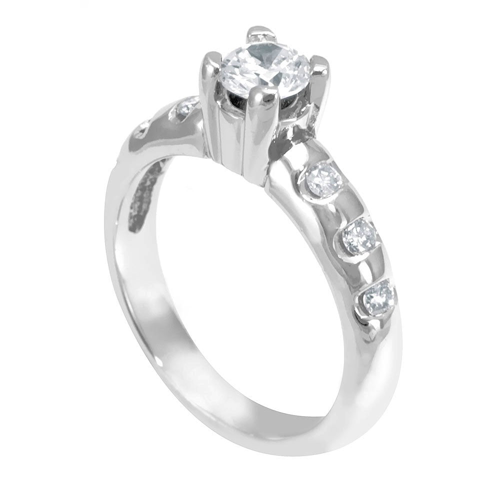 14K White Gold Engagement Ring with Channel Set Round Diamond Side Stones