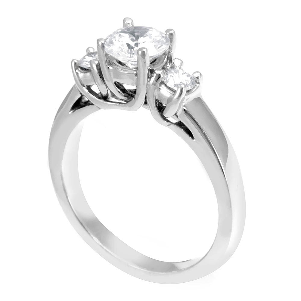3 Stone Engagement Ring in 14K White Gold
