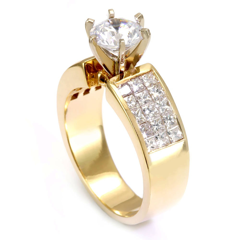 Three Row Princess Cut Diamond Engagement Ring in 14K Yellow Gold