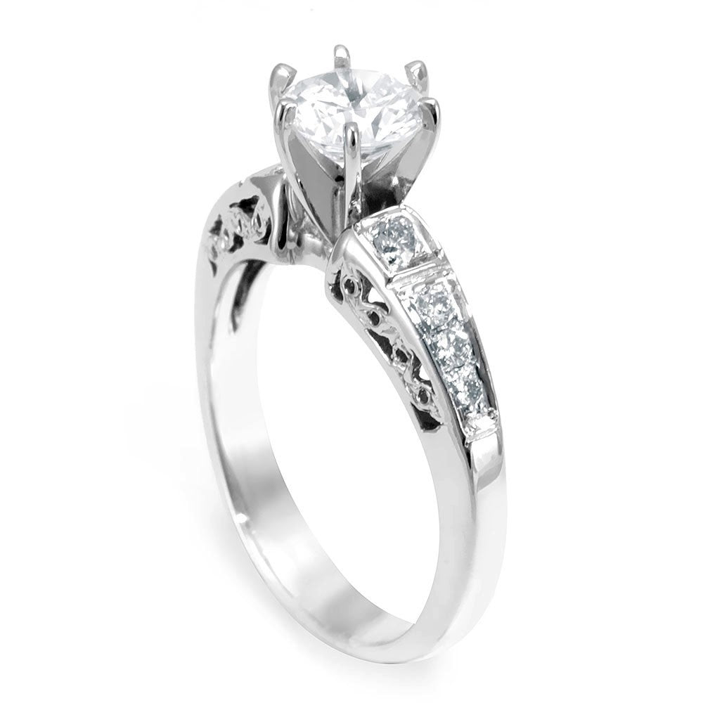 14K White Gold Engagement Ring with Pave Set Round Diamond Side Stones