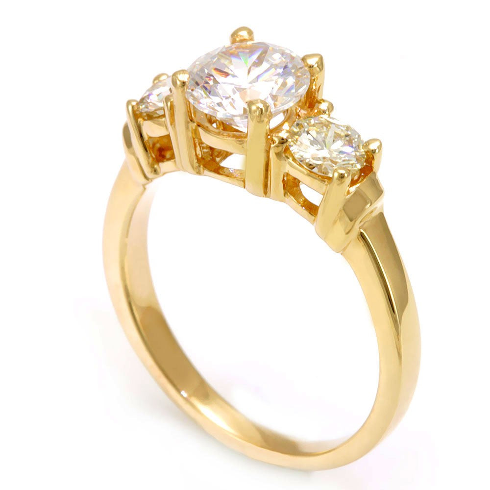 3 Stone Engagement Ring in 14K Yellow Gold