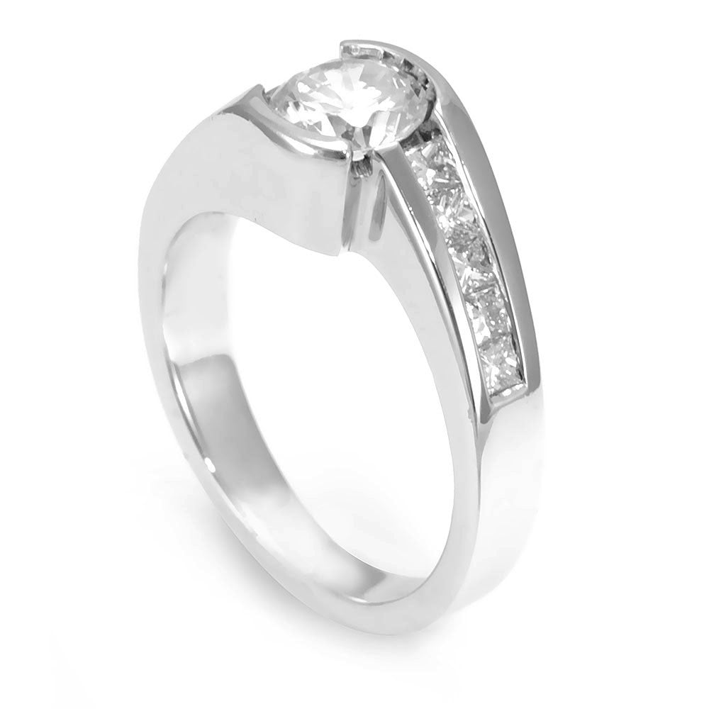 14K White Gold Engagement Ring with Channel Set Princess Cut Diamond Side Stones