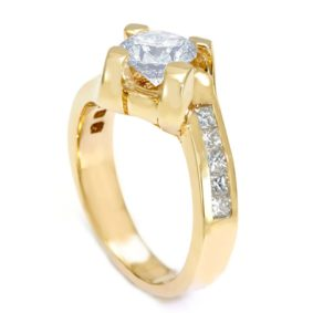 14K Yellow Gold Engagement Ring with Princess Cut Diamond Side Stones