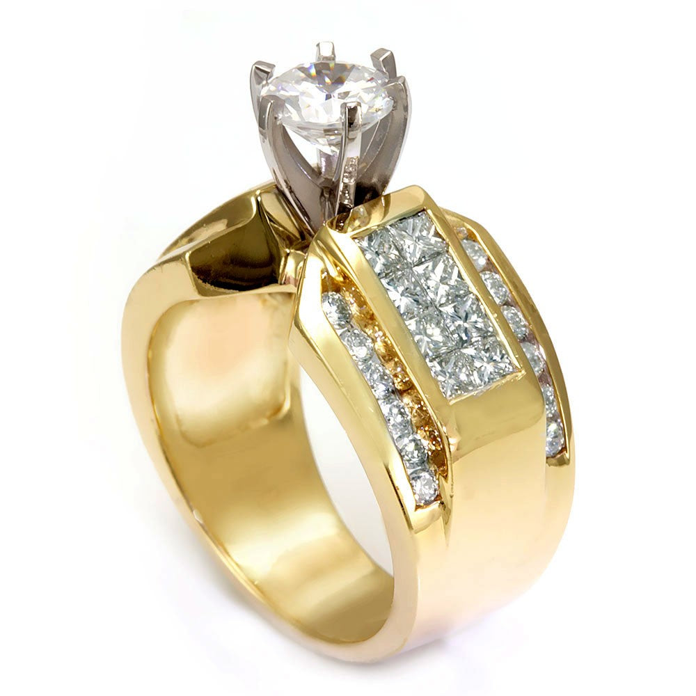 14K Yellow Gold Engagement Ring with Round and Princess Cut Diamond Side Stones