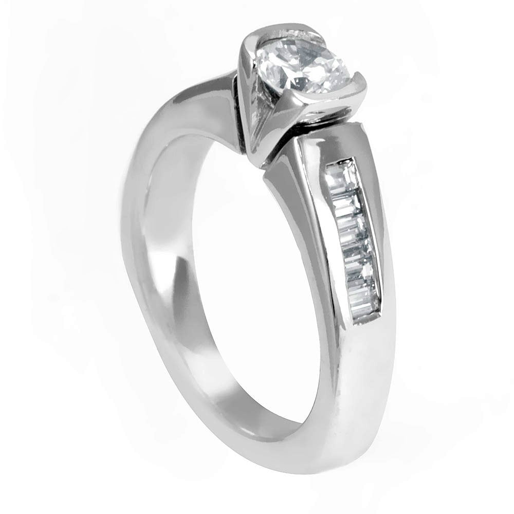 14K White Gold Engagement Ring with Baguette Diamond Side Stones