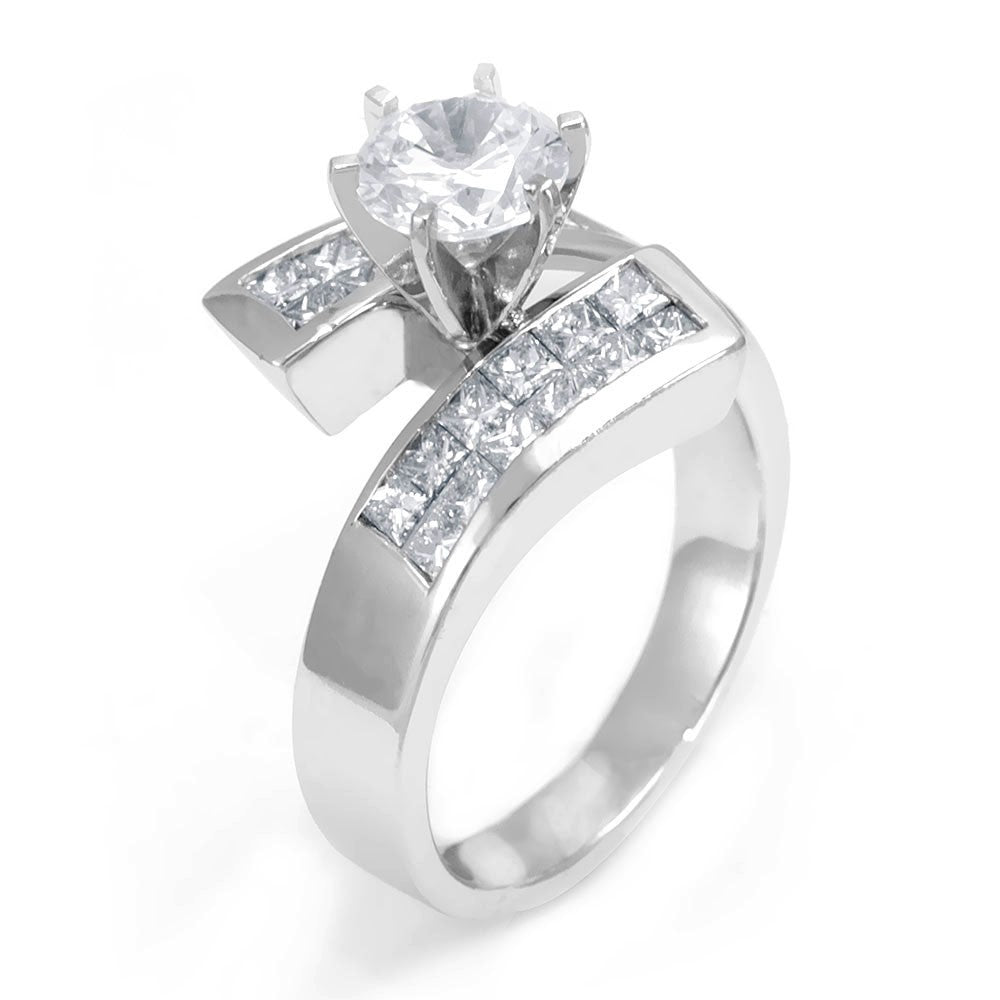 Unique Design Engagement Ring with 2 Row Channel Set Princess Cut Diamonds