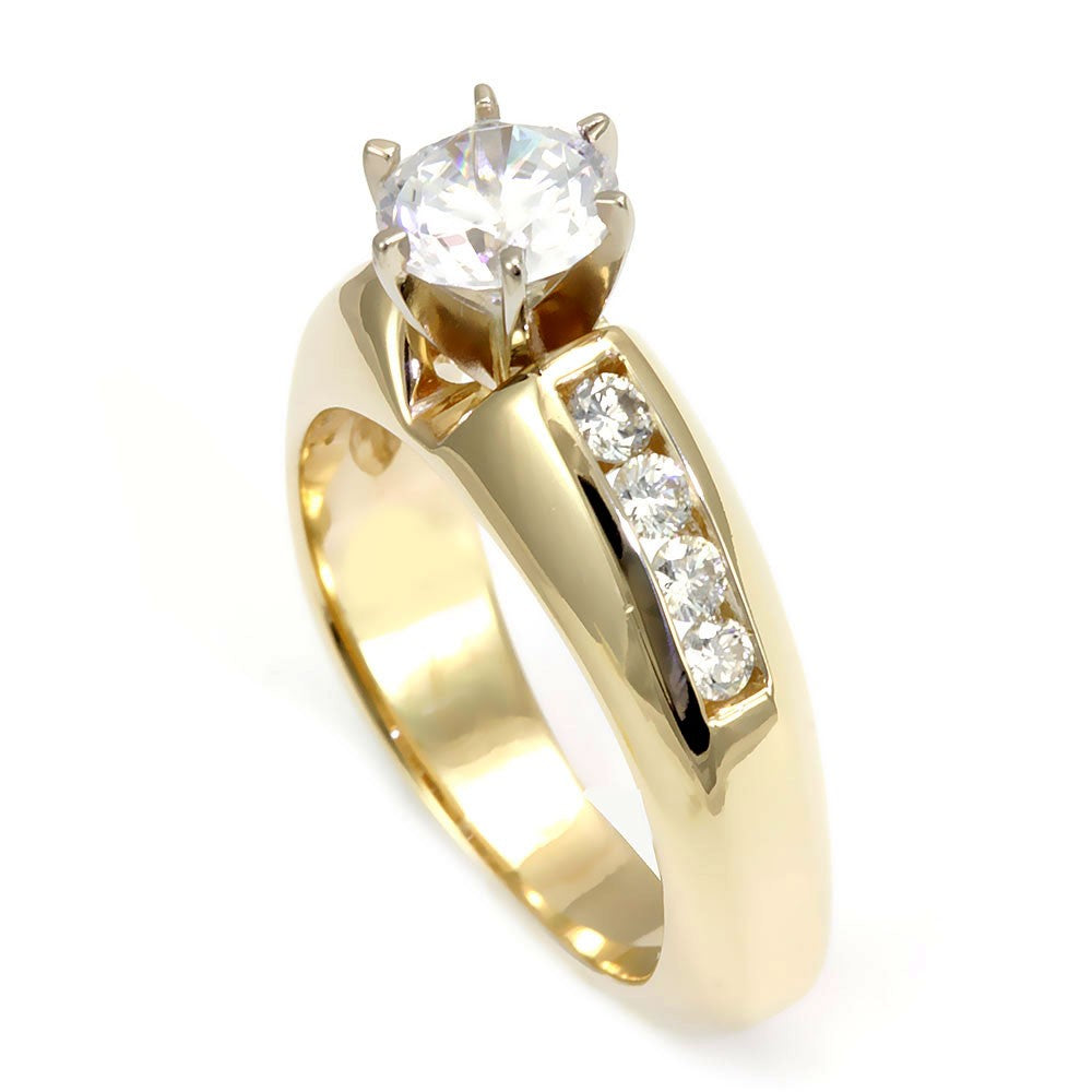 14K Yellow Gold Engagement Ring with Channel Set Round Diamond Side Stones