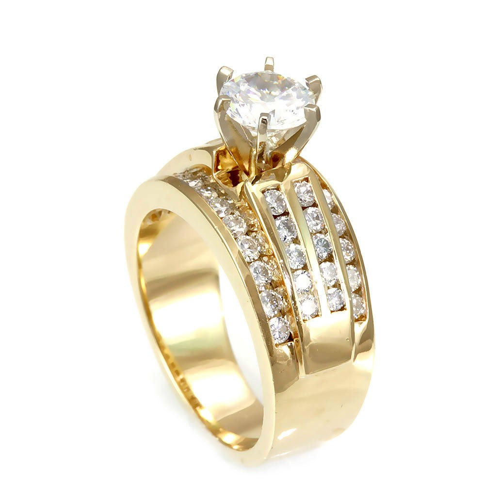 4 Row Round Diamond Channel Set Engagement Ring in 14K Yellow