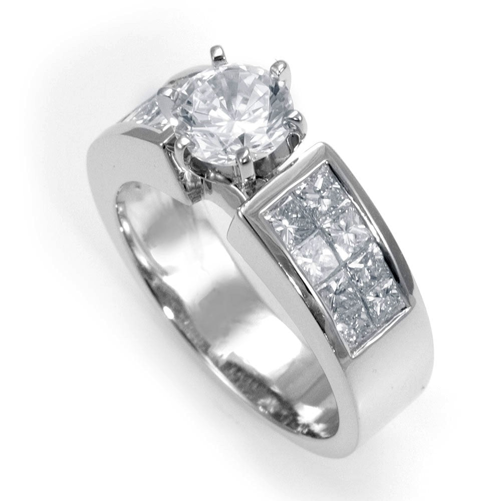 2 Row Princess Cut Diamonds in14K White gold Engagement Ring