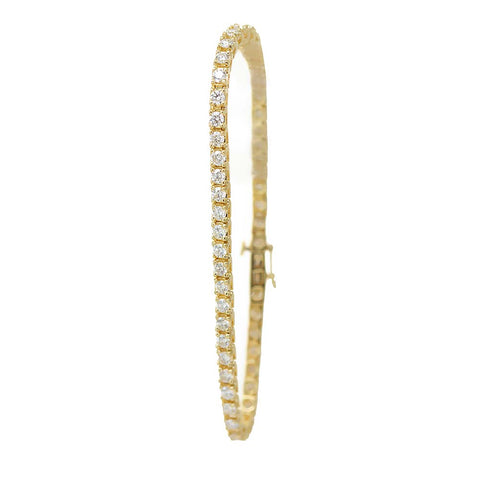 Round Diamond Tennis Bracelet cast in 14K Yellow Gold