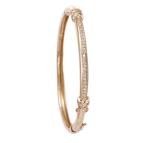 14K Rose Gold Diamond Bangle , Stackable Bangle