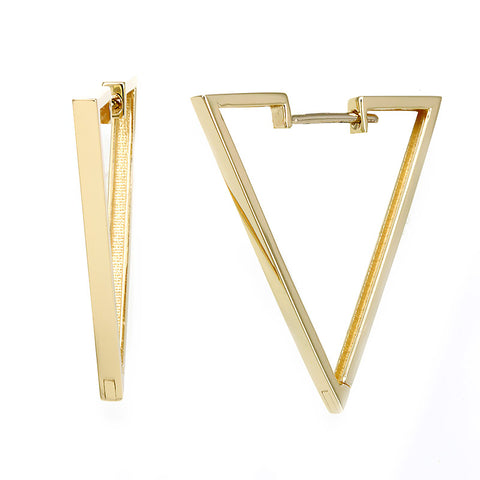 Triangle V Shape 14K Yellow Gold Hoop Earrings