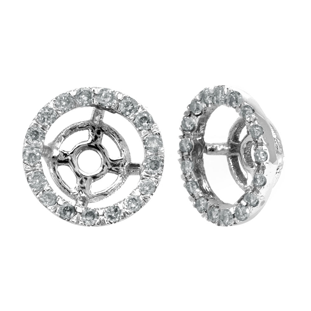 Halo Diamond Stud Earrings Jacket, 14K White Gold Earring Jacket, Stud Earrings Jacket