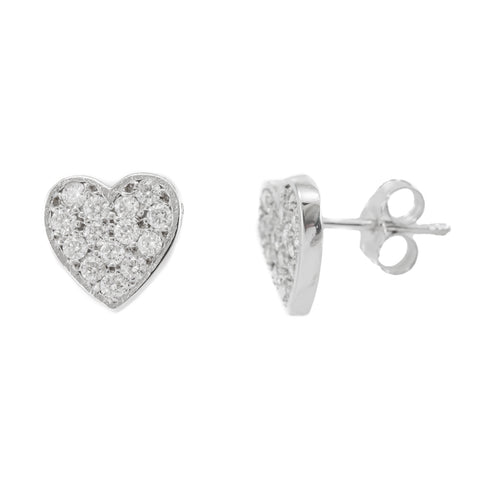 Diamond Heart Shape Stud Earrings, 14K White Gold Ladies Earrings, Heart Shape Earrings
