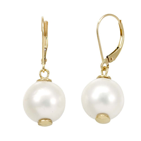 White Fresh Water Pearls Dangling earrings, 14K Yellow Gold Ladies Earrings, Dangling Earrings