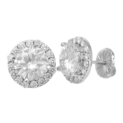14K White Gold Halo Diamond Cluster Stud Earrings