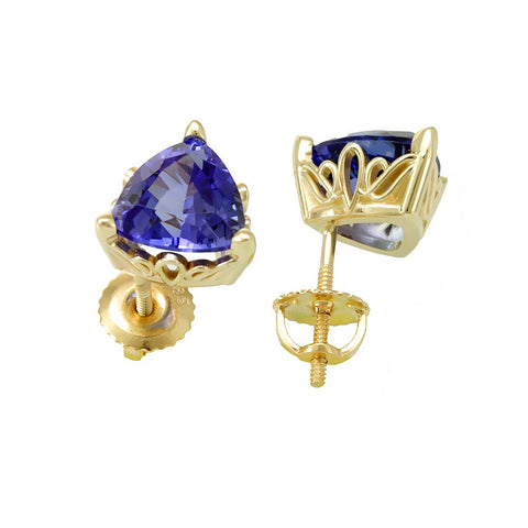 Trillion Light Blue Sapphires Stud Earrings in 14K Yellow Gold