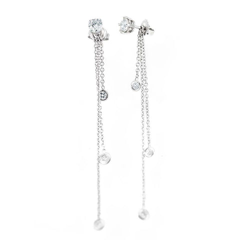 14K White Gold Stud Earrings Dangling Jacket