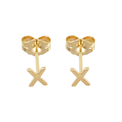 Block Letters, Initials in 14K Yellow Gold Stud Earrings, Fashion Stud Earrings