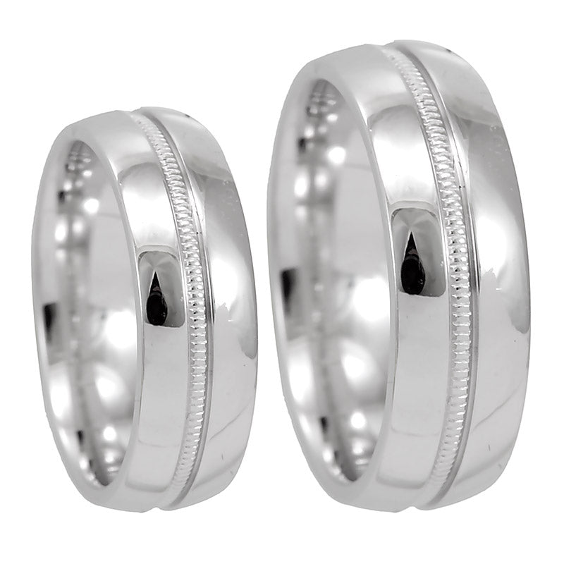 Shiny 14K White Gold Comfort Fit Band with deep milgrain design