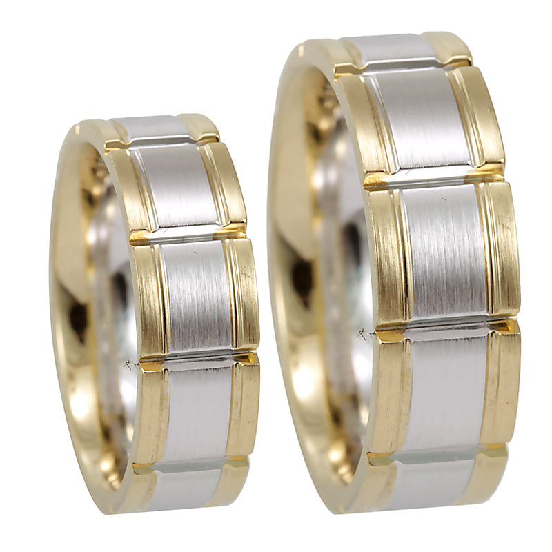 Men's 14K Yellow and White Gold Comfort Fit Band with vertical groove lines, 14K Yellow and White Gold Wedding Band