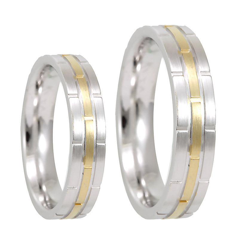 14K White and Yellow Gold Comfort Fit Band with vertical groove lines, 14K  2Tone  Wedding Band