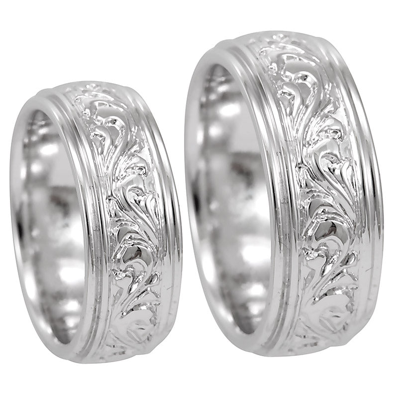 14K White Gold Comfort Fit Band with Engraving Design