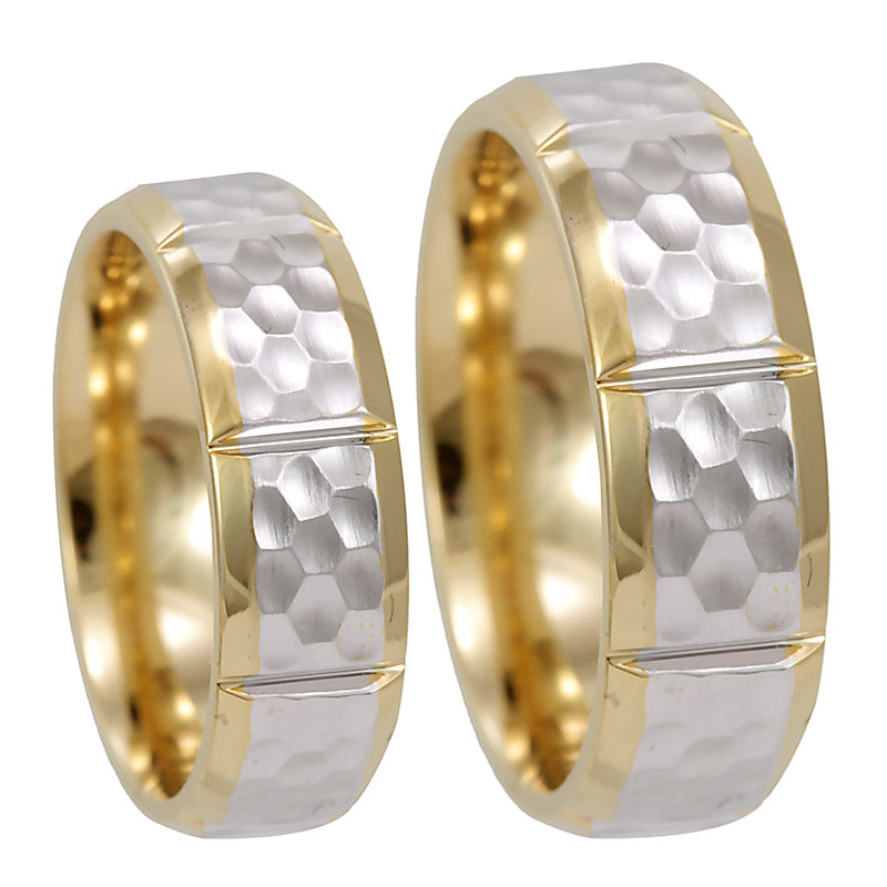 Ladies 14K White and Yellow Gold Comfort Fit Band with vertical groove lines and hammered design, 14K  2Tone  Wedding Band