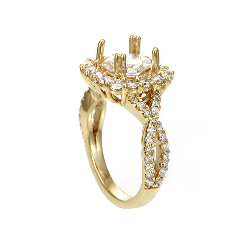 Halo Diamond Engagement, Proposal Ring with Infinity Shank in 14K Yellow Gold