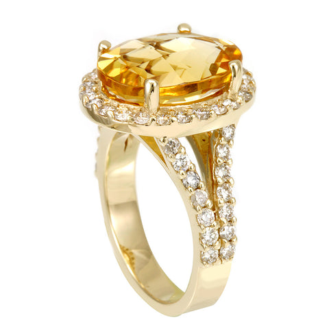 Citrine Round Diamond Split Shank Ring in 14K Yellow Gold