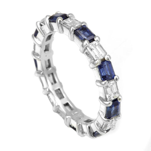 Emerald Diamond and Blue Sapphire Eternity Ring, 14K White Eternity Ring, Forever Ring