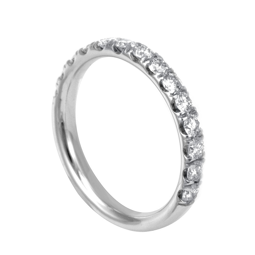 U Prong Diamond Semi Eternity Band in 14K White Gold