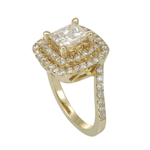 Double Halo 14K Yellow Gold Engagement Ring with Round Diamonds and Princess Cut CZ