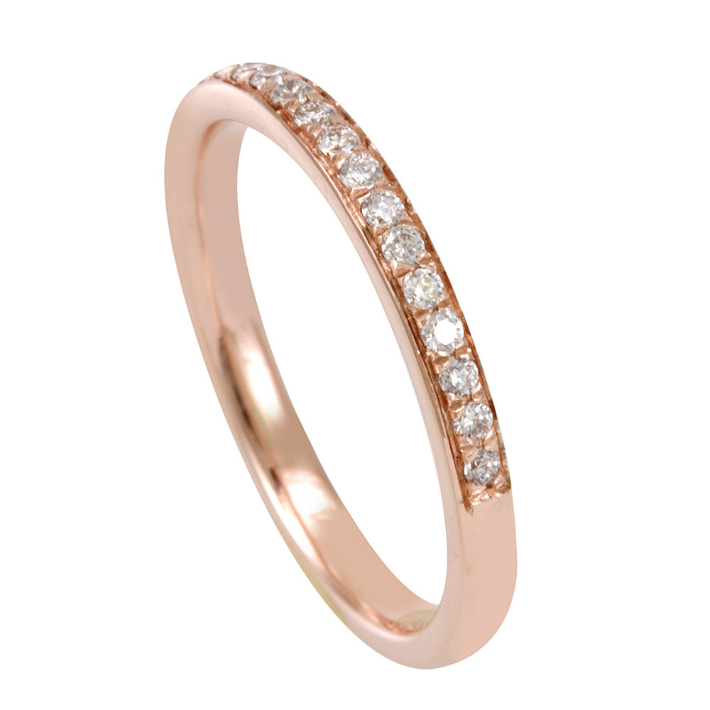 Micro Pave Round Diamonds Semi Eternity Band in 14K Rose Gold