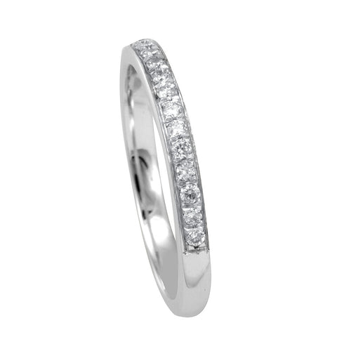 Micro Pave Round Diamonds Semi Eternity Band in 14K White Gold