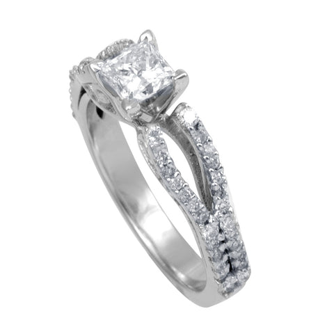 Princess Cut and Round Diamonds 14K White Gold Vintage Engagement Ring