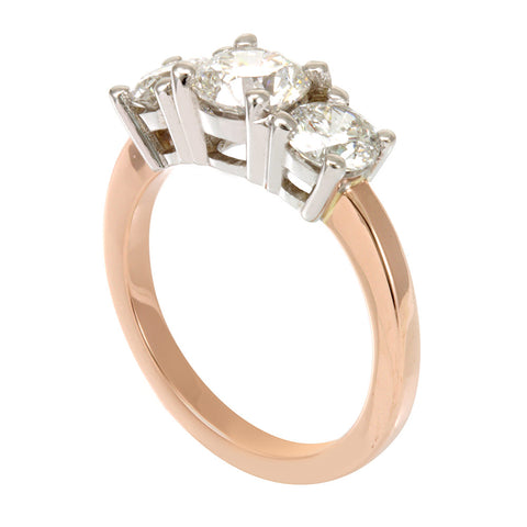 14K White and Rose Gold 3 Stone Engagement Ring, 3 Diamond Ring