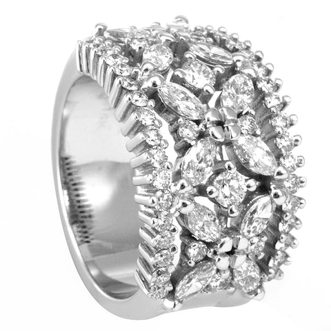 A unique Round and Marquise Diamonds Wide Ladies Band in 14K White Gold