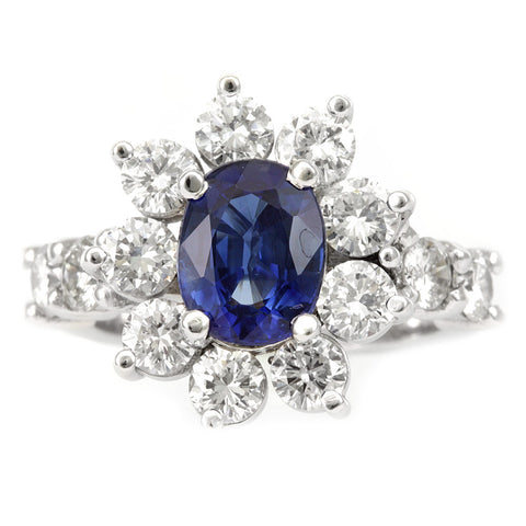 Blue Sapphire Diamond Ring in 14K White gold