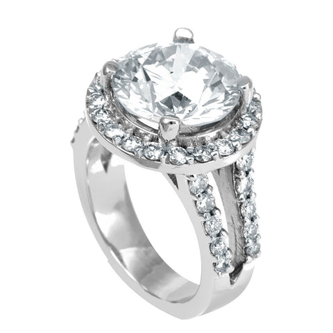 Halo Diamond 14K White Gold Split Shank Engagement Ring with Round CZ center